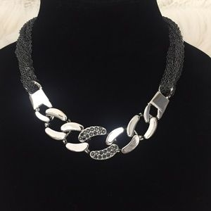 Express Mesh Chain Link Silver Statement Necklace